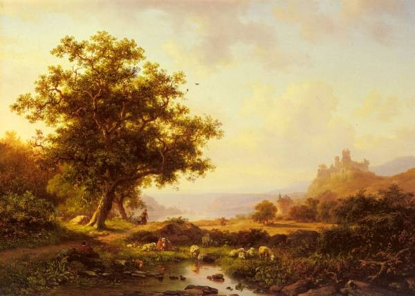 An Extensive River Landscape With A Castle On A Hill Beyond